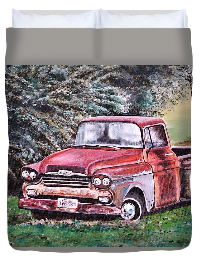 Old Truck Duvet Cover featuring the painting Rust In Peace by Andrea Patton