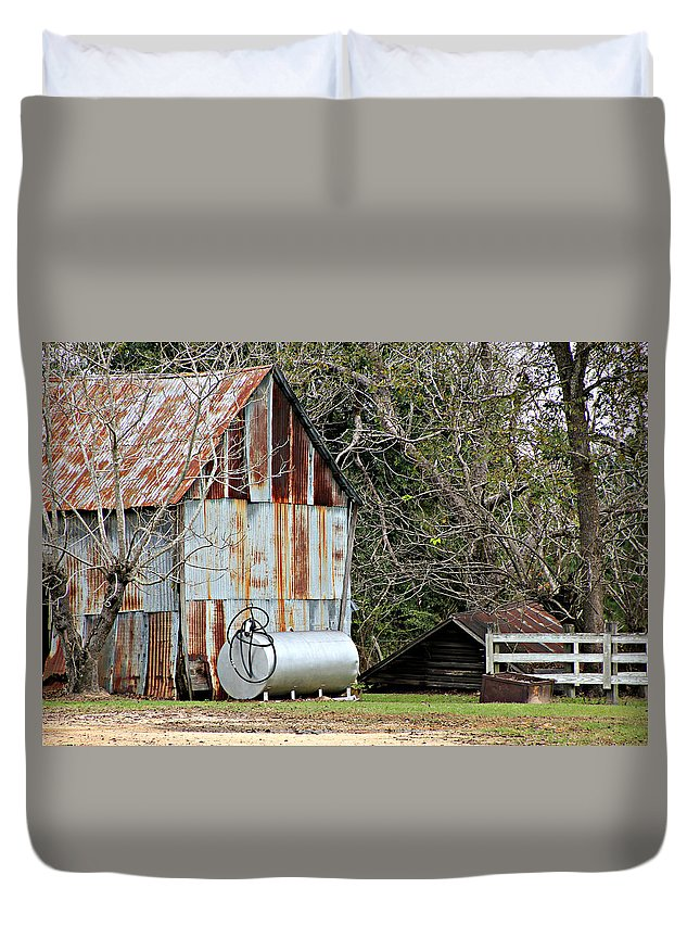 Rusted Tin Duvet Cover featuring the photograph Rusted Tin Shed In Burnt Corn by Lynn Jordan
