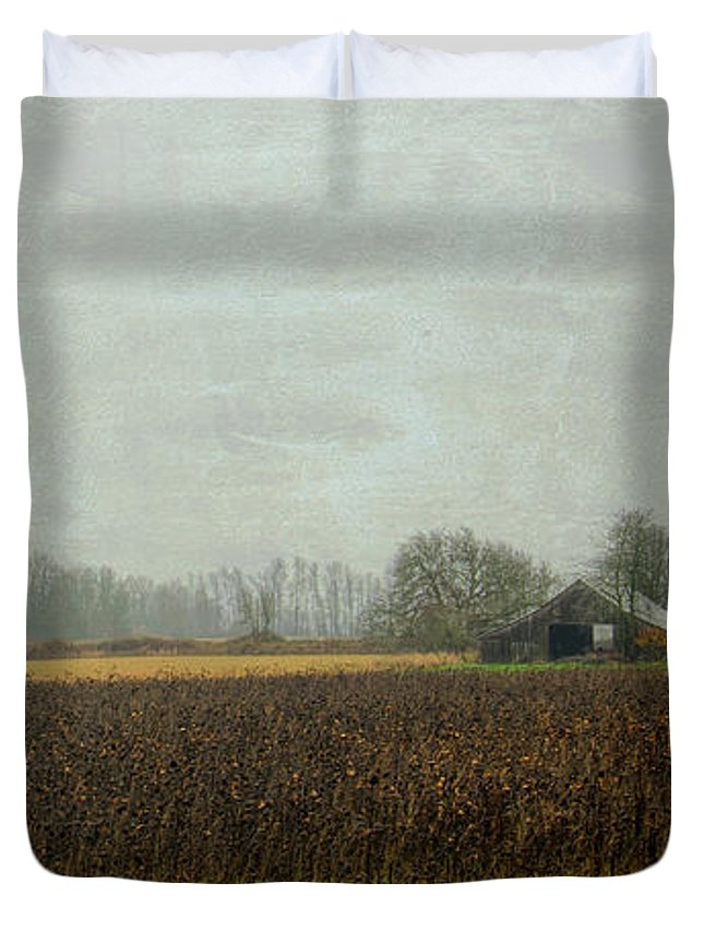 Autumn Duvet Cover featuring the photograph Rustic Barn On A Rainy Day by Don Schwartz