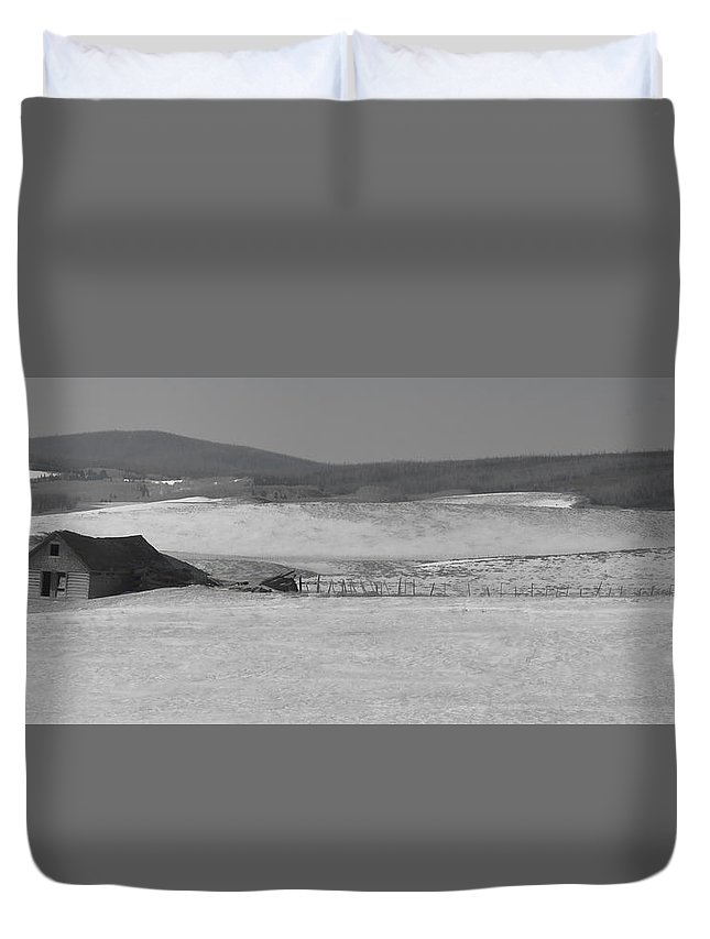 Cabin Duvet Cover featuring the photograph Rustic Cabin In The Snow by Don Schwartz