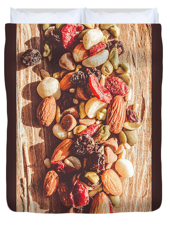Rustic Duvet Cover featuring the photograph Rustic Dried Fruit And Nut Mix by Jorgo Photography - Wall Art Gallery
