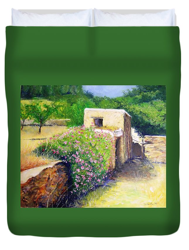 Bucolic Duvet Cover featuring the painting Rustic Landscape by Lizzy Forrester