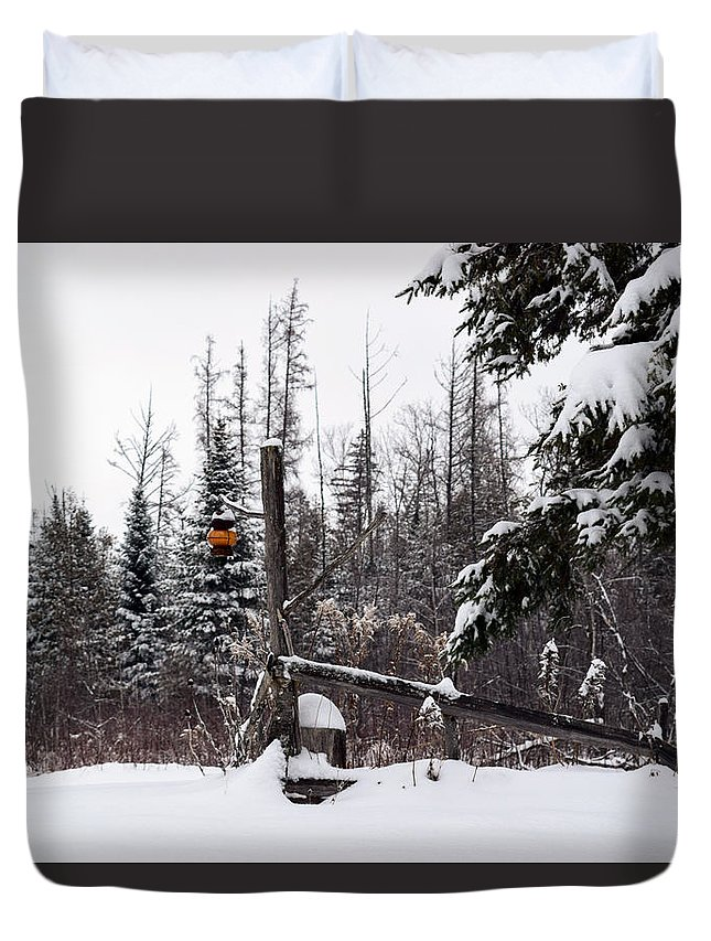 Winter Duvet Cover featuring the photograph Rustic Property Marker by William Tasker