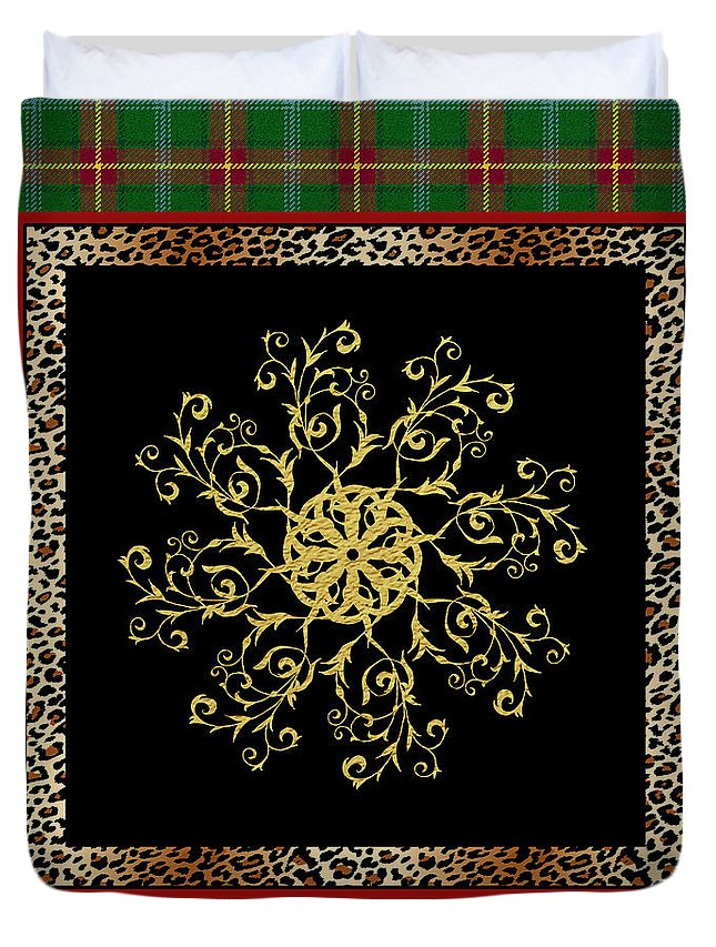 Jjean Plout Duvet Cover featuring the painting Rustic Snowflake-jp3694 by Jean Plout