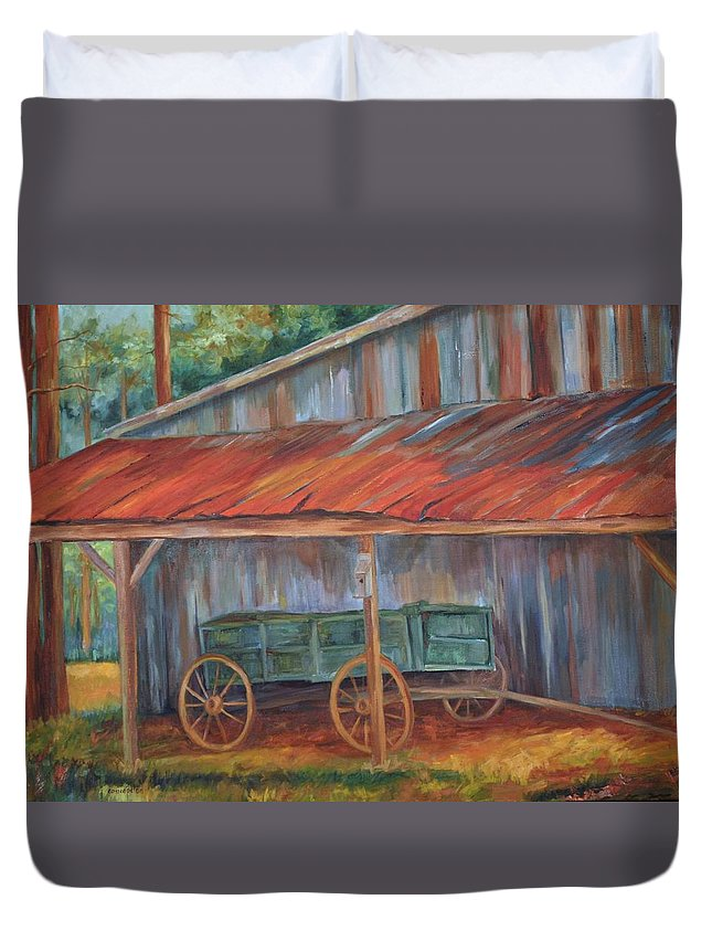 Old Wagons Duvet Cover featuring the painting Rustification by Ginger Concepcion