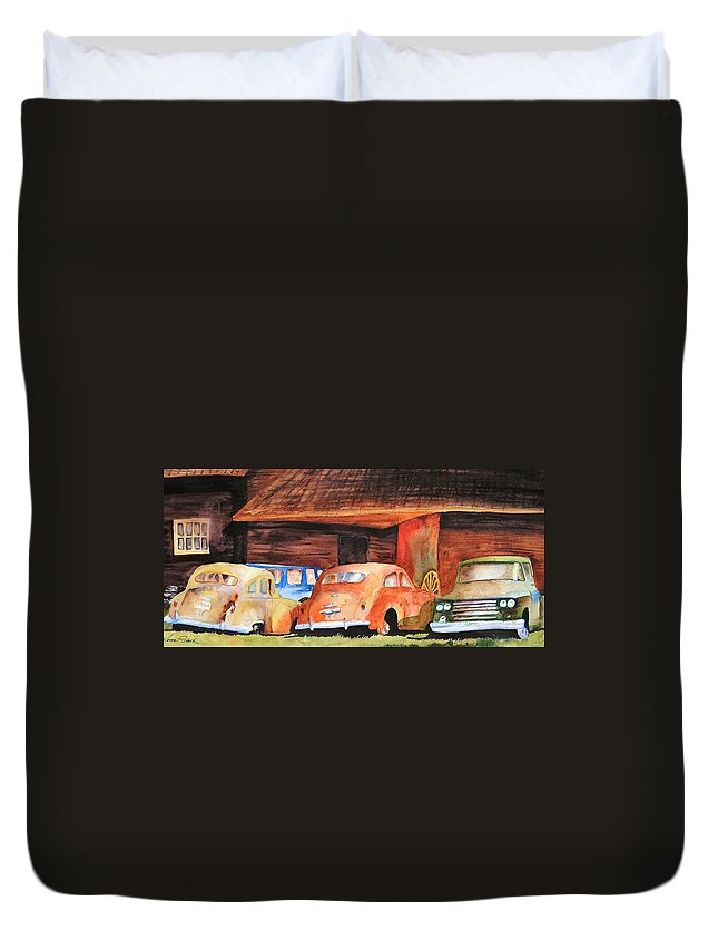 Car Duvet Cover featuring the painting Rusting by Karen Stark