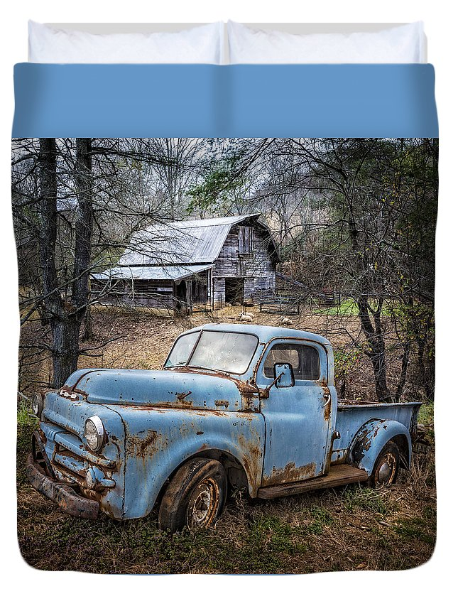 1950s Duvet Cover featuring the photograph Rusty Blue Dodge by Debra and Dave Vanderlaan