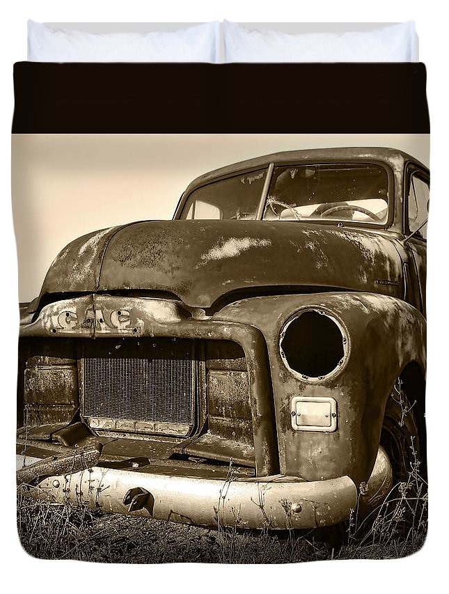 Vintage Duvet Cover featuring the photograph Rusty But Trusty Old Gmc Pickup by Gordon Dean II
