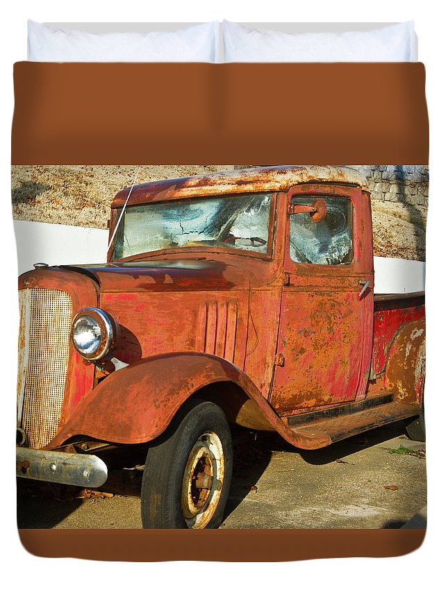 Rusty Duvet Cover featuring the photograph Rusty Chevrolet Pickup Truck 1934 by Douglas Barnett