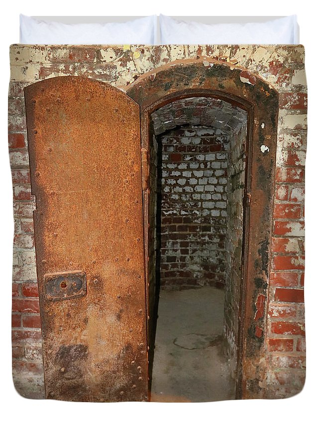Door Duvet Cover featuring the photograph Rusty Door At Ohio Prison by Steve Gass