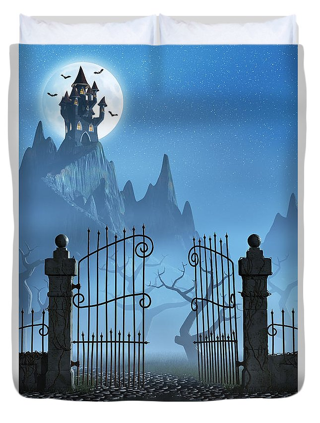 Castle Duvet Cover featuring the digital art Rusty Gate And A Spooky Dark Castle by Sara Winter