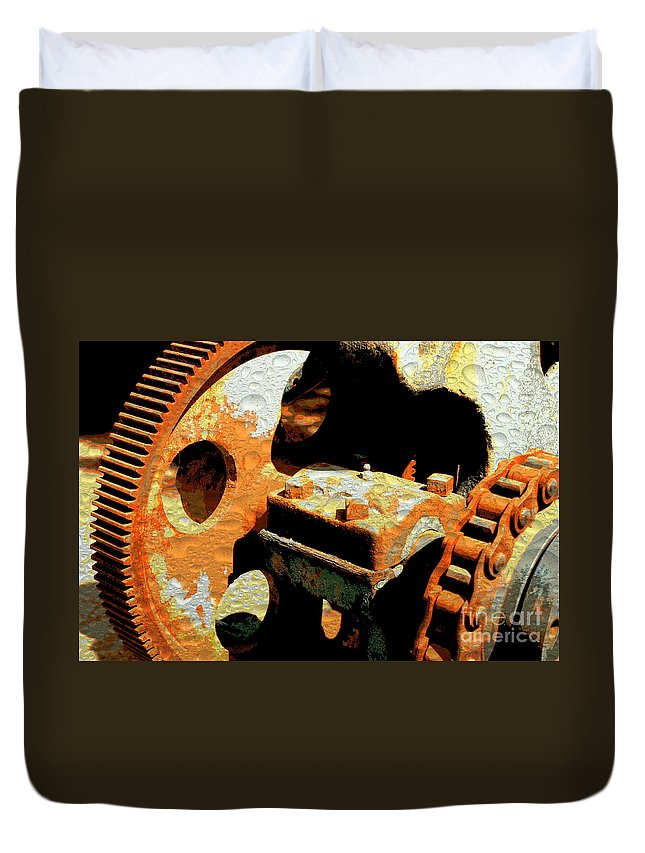 Rusty Duvet Cover featuring the photograph Rusty Gears by Carol Groenen