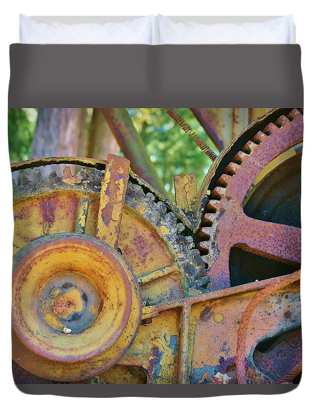 Gears Duvet Cover featuring the photograph Rusty Gears by Deb Zulawski