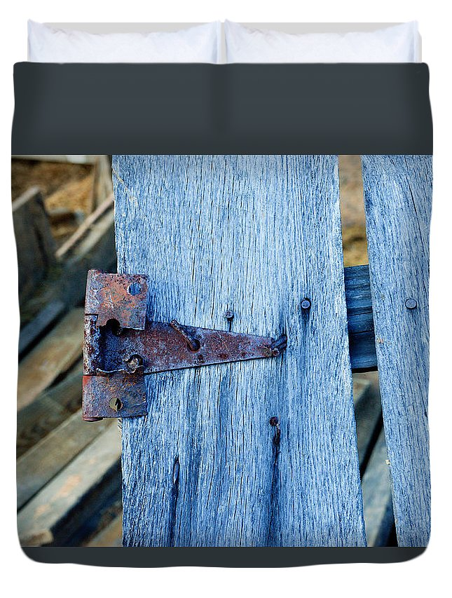 Rusty Duvet Cover featuring the photograph Rusty Hinge In The Blue Of The Evening by Douglas Barnett