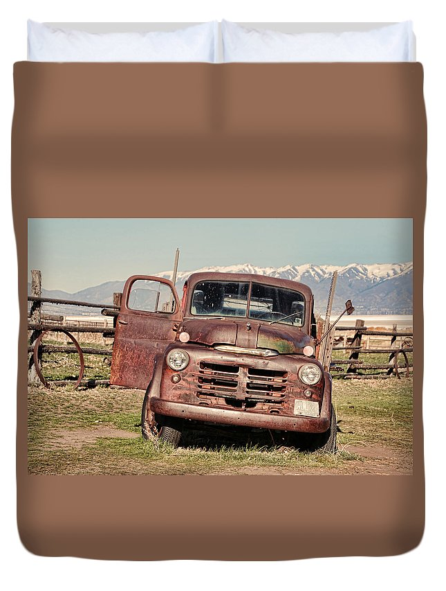 Antelope Island Duvet Cover featuring the photograph Rusty Old Dodge by Ely Arsha