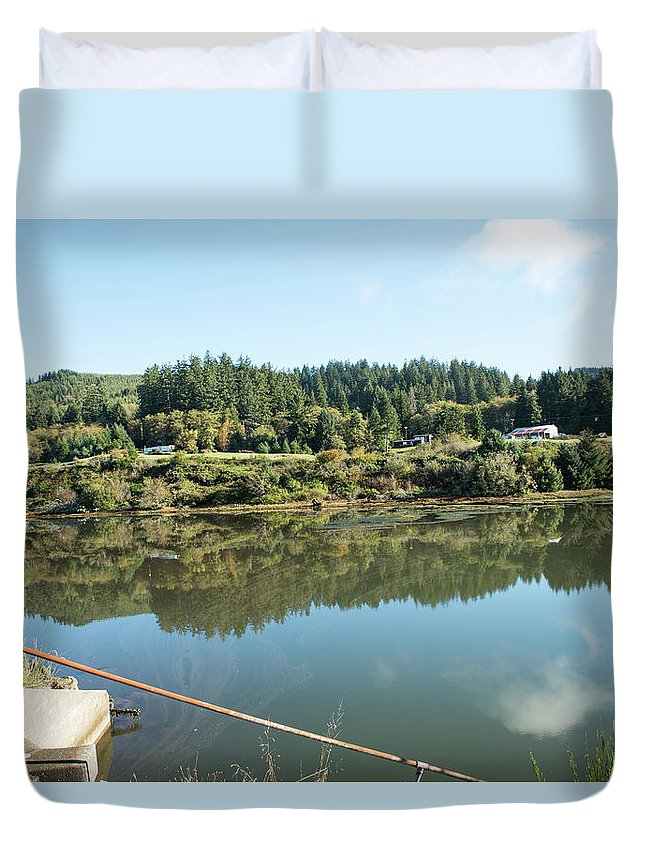 Reedsport Duvet Cover featuring the photograph Rusty Railing And Reflection by Tom Cochran