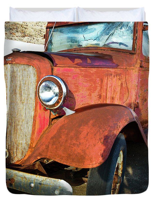 Cove Duvet Cover featuring the photograph Rusty Red Chevrolet Pickup Truck 1934 by Douglas Barnett