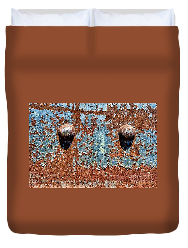 Rivet Duvet Cover featuring the photograph Rusty Rivets by Olivier Le Queinec