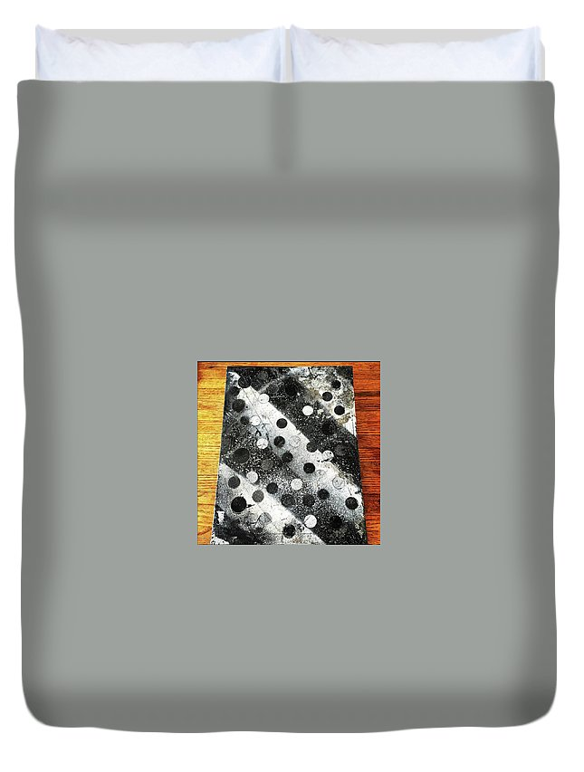 Abstract Spray Painting On Canvas. *wooden Background-can Be Included In Print If Notified* Duvet Cover featuring the painting Rusty Winter by Piyush Jain