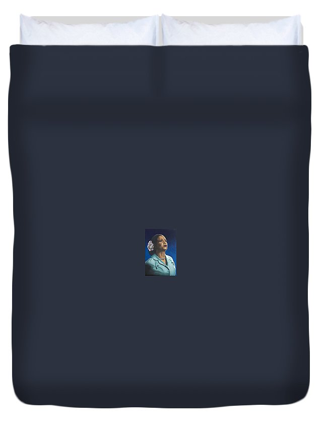 Portrait Duvet Cover featuring the painting Ruth Jacott by Rob De Vries