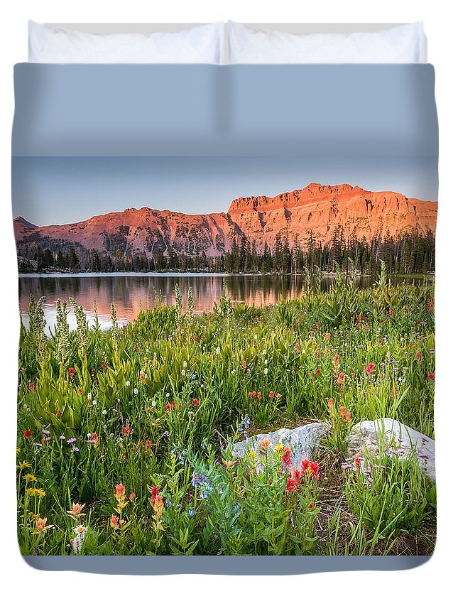 Trailsxposed Duvet Cover featuring the photograph Ruth Lake Wild Flowers by Gina Herbert
