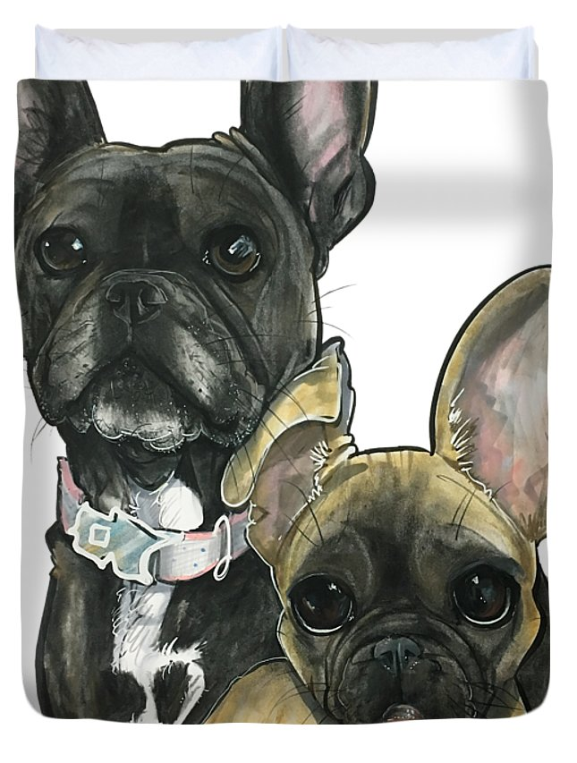 French Bulldog Duvet Cover featuring the drawing Ryan 3865 by John LaFree