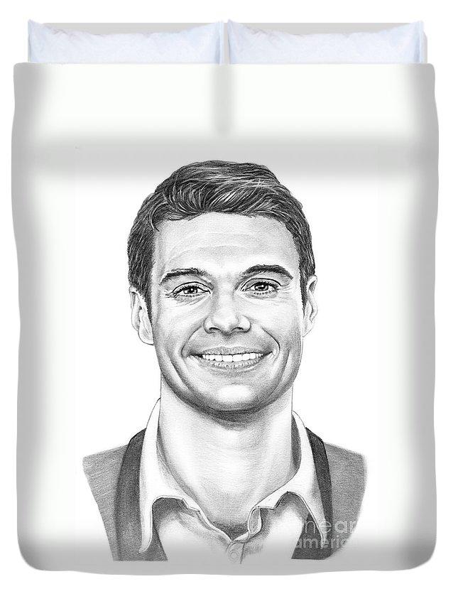 Art Duvet Cover featuring the drawing Ryan Seacrest by Murphy Elliott