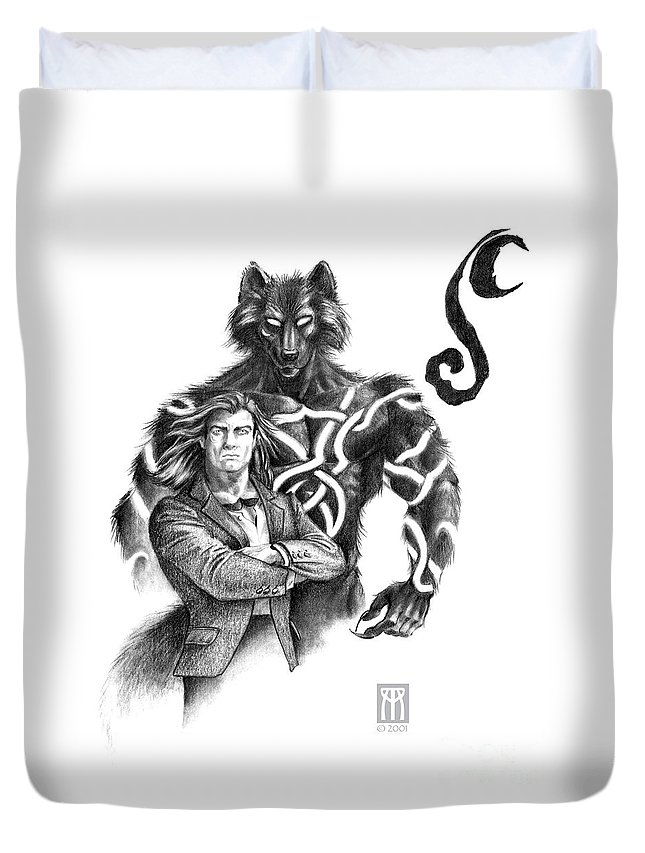 Werewolf Duvet Cover featuring the drawing Ryan With Werewolf by Melissa A Benson
