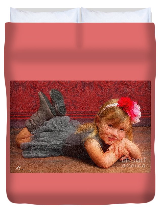 Girl Duvet Cover featuring the digital art Rylee 2 by Bryann Cole