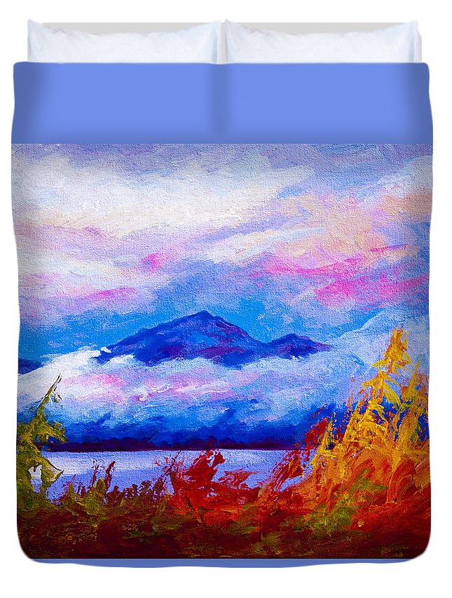 Alaska Duvet Cover featuring the painting Rythmn Of The Arctic by Marion Rose