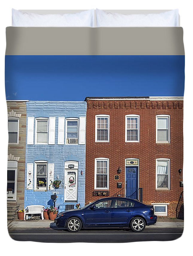 2d Duvet Cover featuring the photograph S Baltimore Row Homes - Wide by Brian Wallace