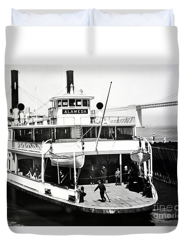 S. P. Duvet Cover featuring the photograph S. P. Ferry Alameda At San Francisco Circa 1940 by California Views Mr Pat Hathaway Archives
