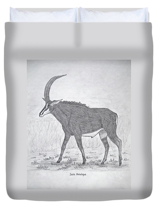 Drawing Duvet Cover featuring the drawing Sable Antelope by Julia Raddatz