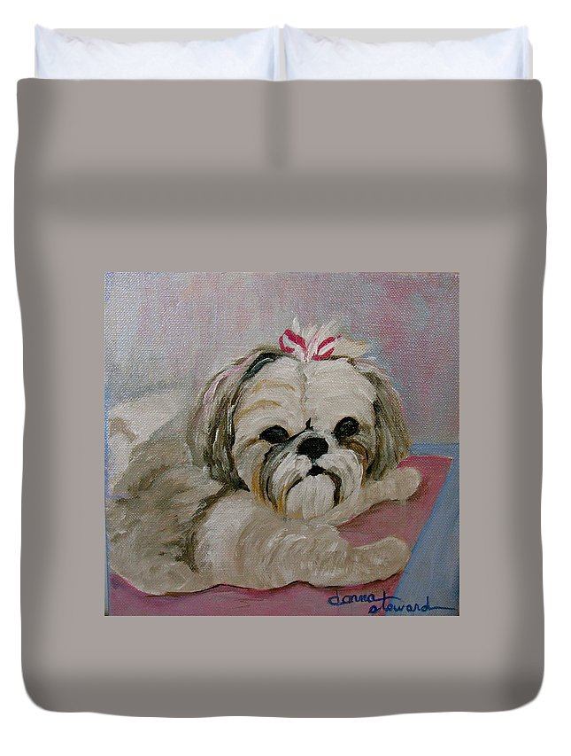 Acrylic Duvet Cover featuring the painting Sacha by Donna Steward