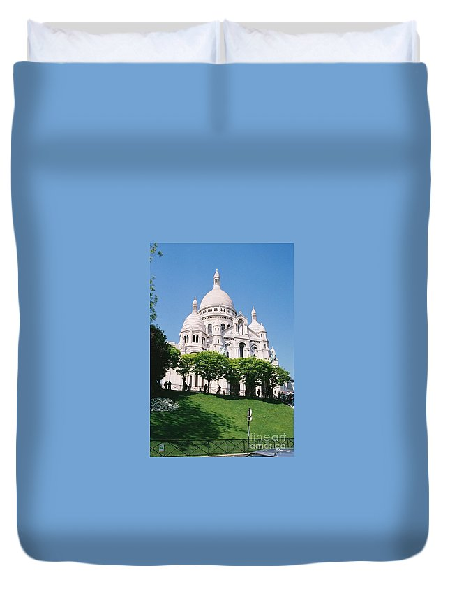 Church Duvet Cover featuring the photograph Sacre Coeur by Nadine Rippelmeyer