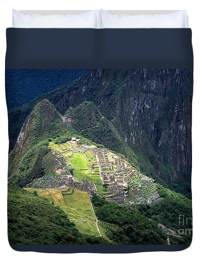 Machu Picchu Duvet Cover featuring the photograph Sacred City Of Machu Picchu by James Brunker