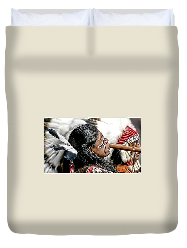 American Indian Duvet Cover featuring the photograph Sacred Flute by Donovan Torres