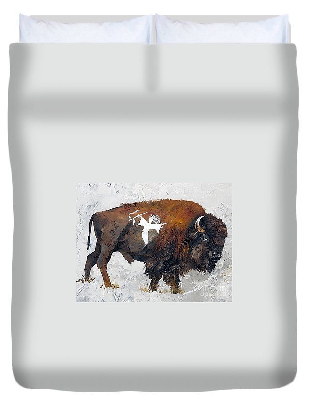 Southwest Art Duvet Cover featuring the painting Sacred Gift by J W Baker