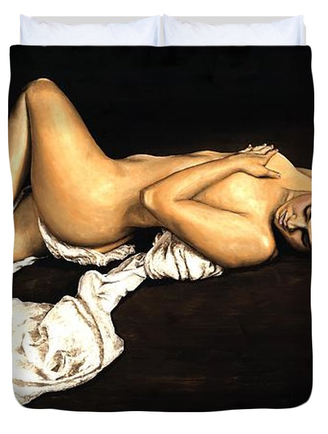Nude Duvet Cover featuring the painting Sacred by Richard Young