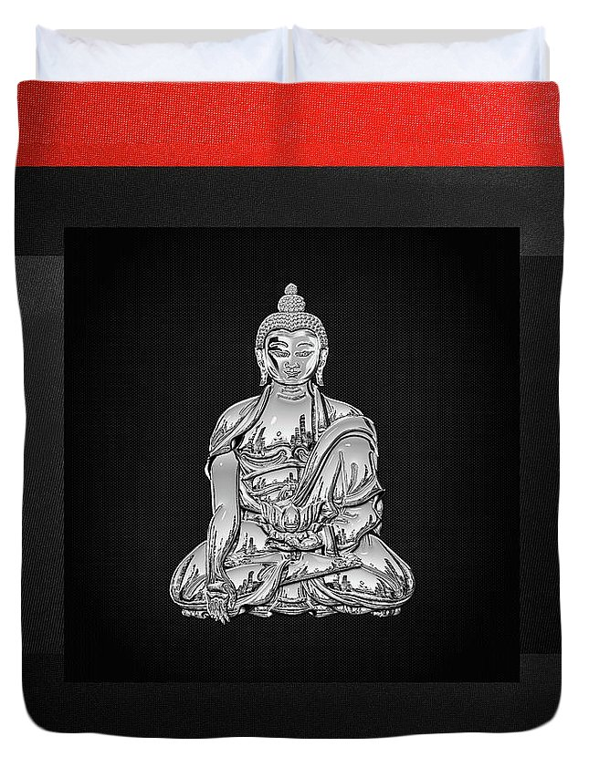 'sacred Symbols' Collection By Serge Averbukh Duvet Cover featuring the digital art Sacred Symbols - Silver Buddha On Red And Black by Serge Averbukh