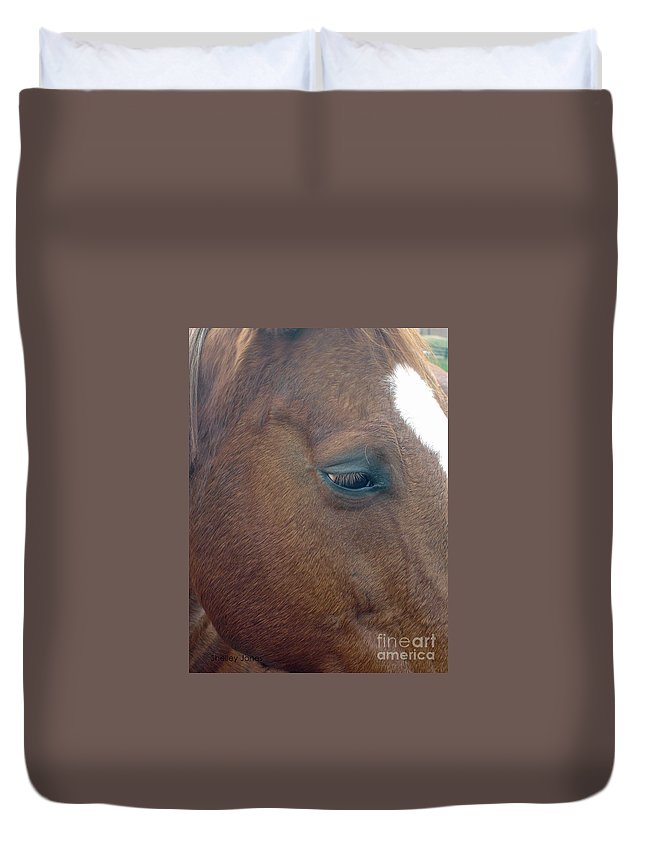 Horse Duvet Cover featuring the photograph Sad Eyed by Shelley Jones