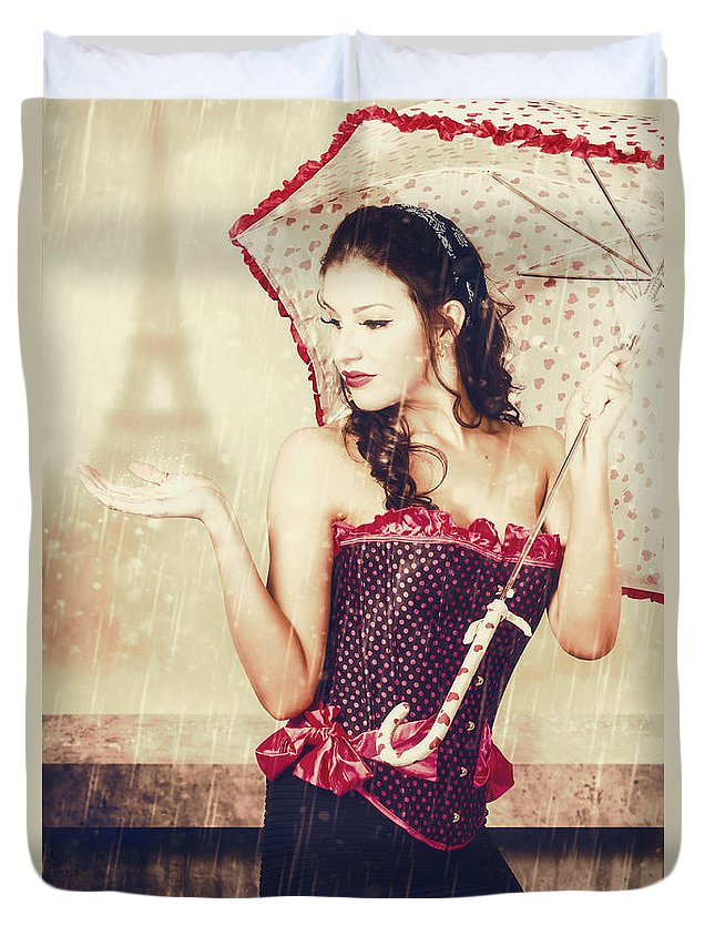 Paris Duvet Cover featuring the photograph Sad French Pin-up Woman. Loss In The City Of Love by Jorgo Photography - Wall Art Gallery