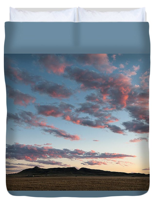 Big Sky Duvet Cover featuring the photograph Saddle Butte by Scott Slone