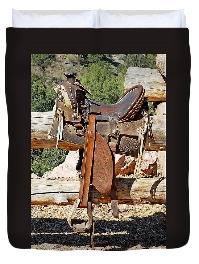 Horse Saddle Duvet Cover featuring the photograph Saddle On Ranch Fence by Robert Meyers-Lussier
