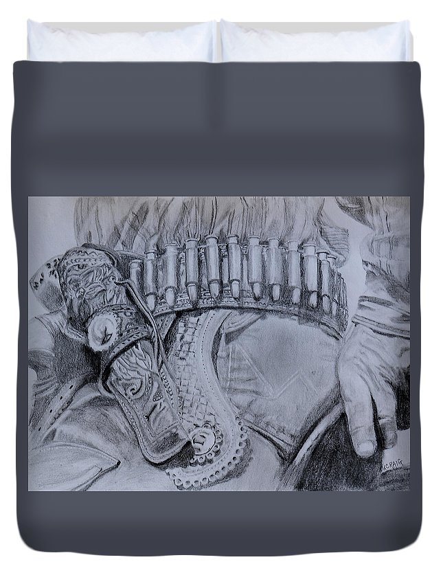 Western Duvet Cover featuring the drawing Saddled And Armed by Virginia Craig