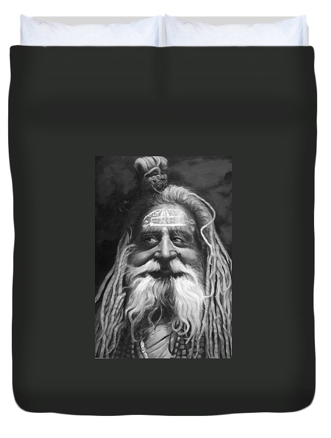 Sadhu Duvet Cover featuring the painting Sadhu by Portraits By NC