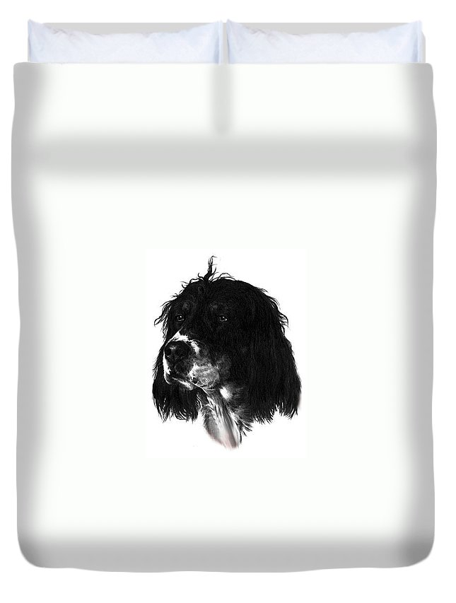 Portrait Duvet Cover featuring the drawing Sadie by Rachel Christine Nowicki