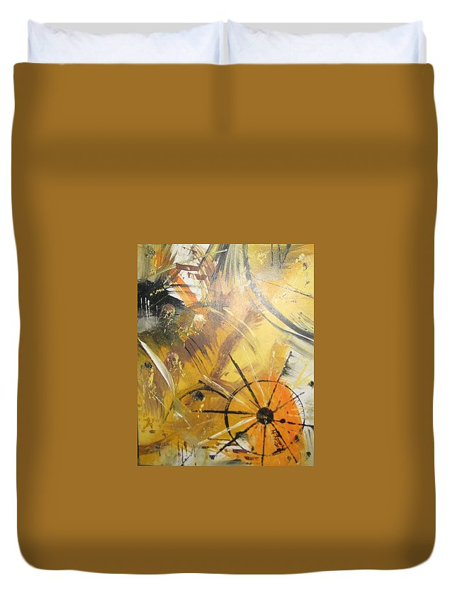 Modern Duvet Cover featuring the painting Sadness In Space by Norma Roman