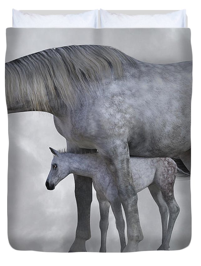 Horse Duvet Cover featuring the digital art Safe Harbor by Betsy Knapp