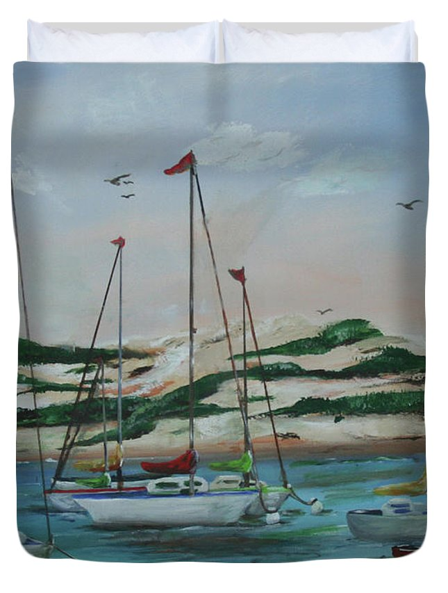 Safe Harbor Duvet Cover featuring the painting Safe Harbor by Gail Daley